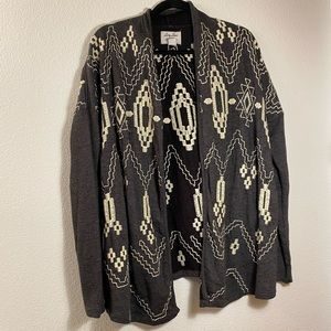 LUCKY BRAND Boho Aztec Cardigan M Embroidered